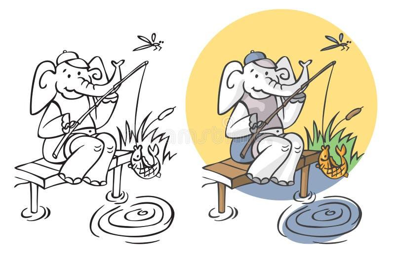 Pêcheur d'éléphant sur l'étang illustration de vecteur