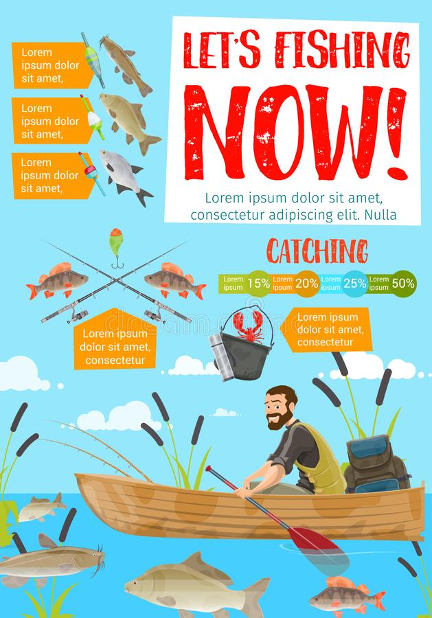 Pêcheur dans les poissons contagieux de bateau Rods et attirail illustration stock