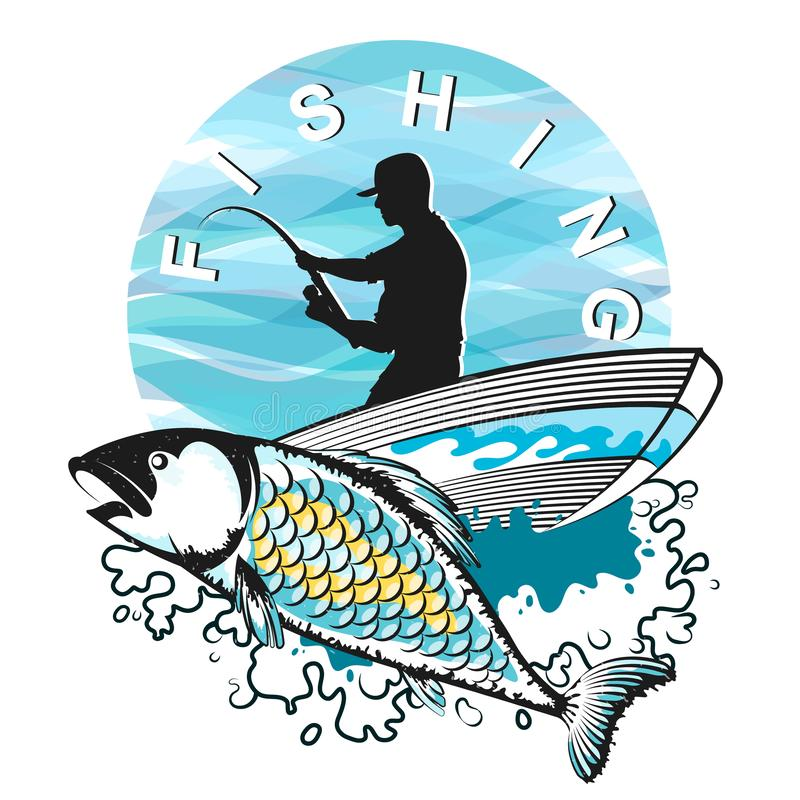 Pêcheur dans un bateau avec des poissons illustration stock