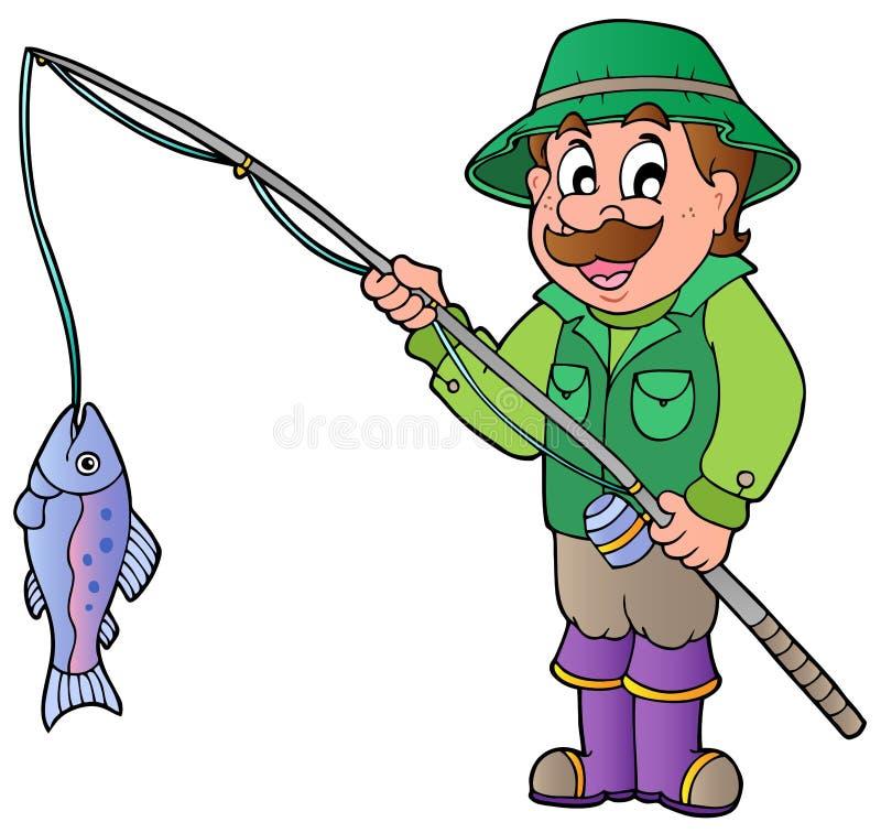 Pêcheur de dessin animé avec la tige et les poissons illustration stock