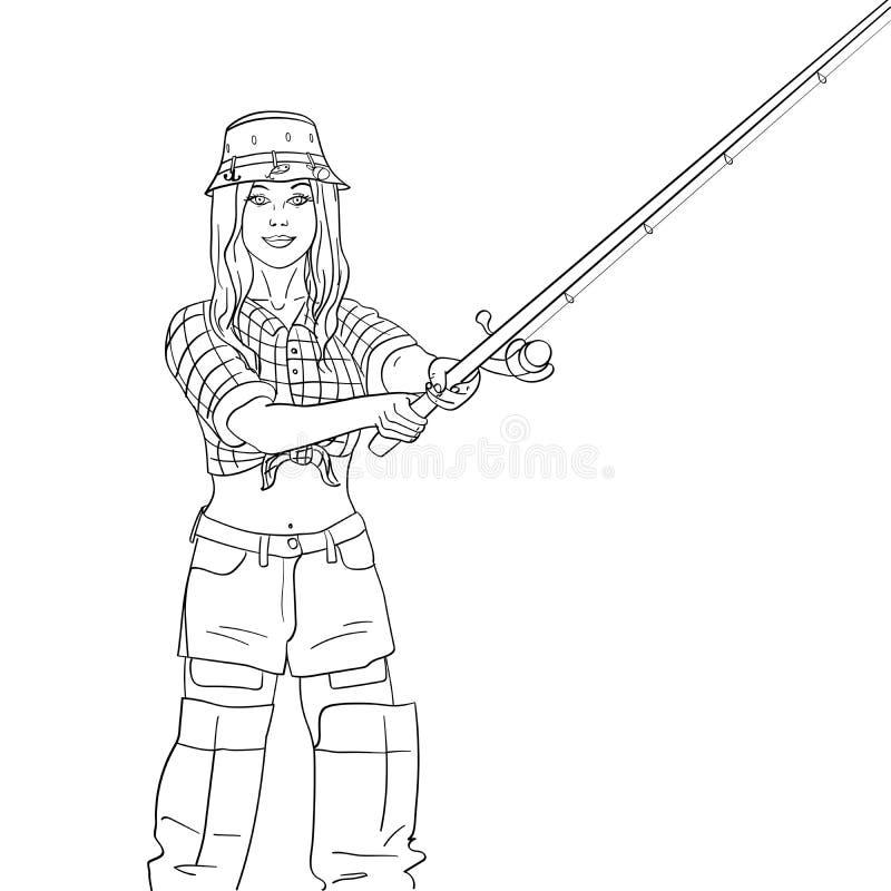 Pêcheur de femme sur la rivière, pêcheur de fille Objet sur l'illustration blanche de trame de fond Coloration pour des enfants illustration libre de droits