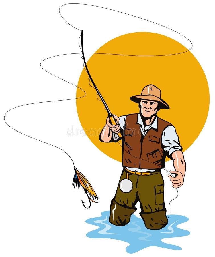 Pêcheur de mouche attrapant une truite illustration libre de droits