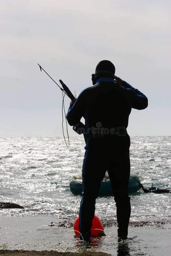 Pêcheur de plongeur autonome image libre de droits