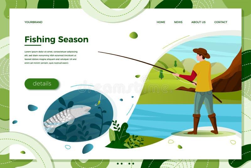 Pêcheur de rivière de vecteur avec la tige, poisson sous l'eau illustration stock