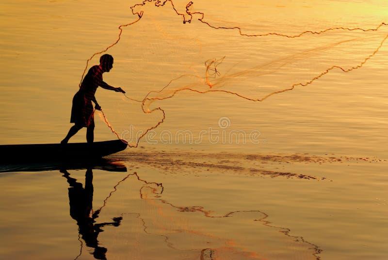 Pêcheur du Laos photos stock