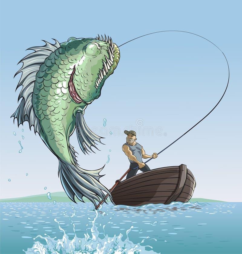Pêcheur et grands poissons illustration de vecteur