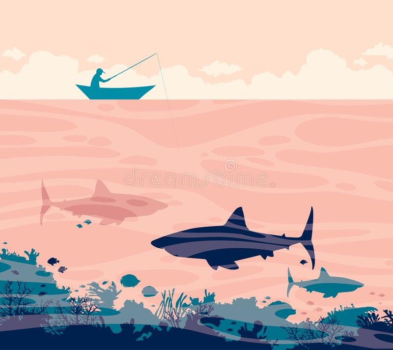Pêcheur et requins illustration stock