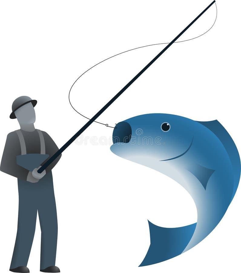 Pêcheur et un poisson sur le crochet illustration libre de droits