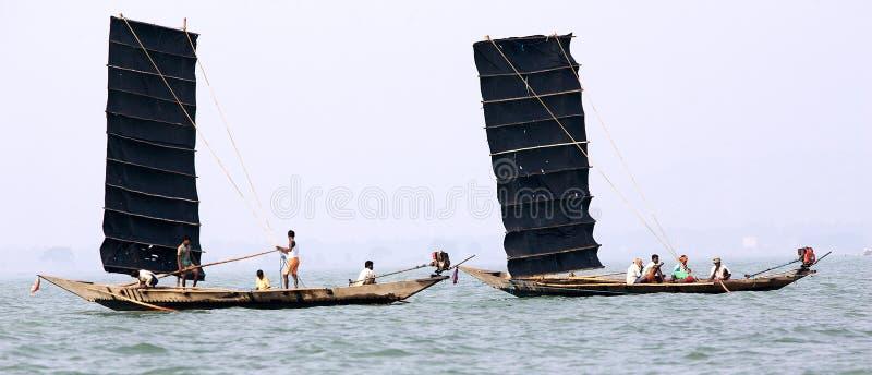 Pêcheur indien sur le lac Chilika image libre de droits