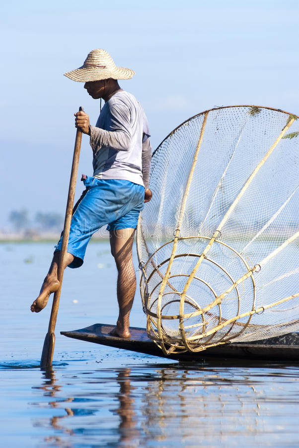 Pêcheur, lac Inle, Myanmar photographie stock