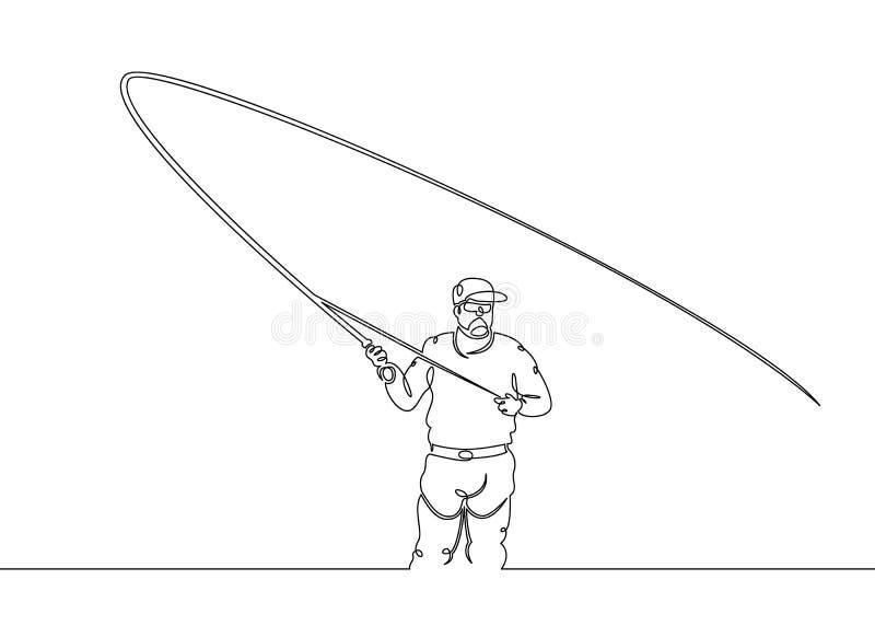 Pêcheur, matin, fonte, jet, illustration stock