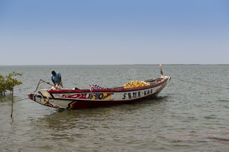 Pêcheur préparant son canoë dans le port de la ville de Cacheu, en Guinée-Bissau photographie stock libre de droits
