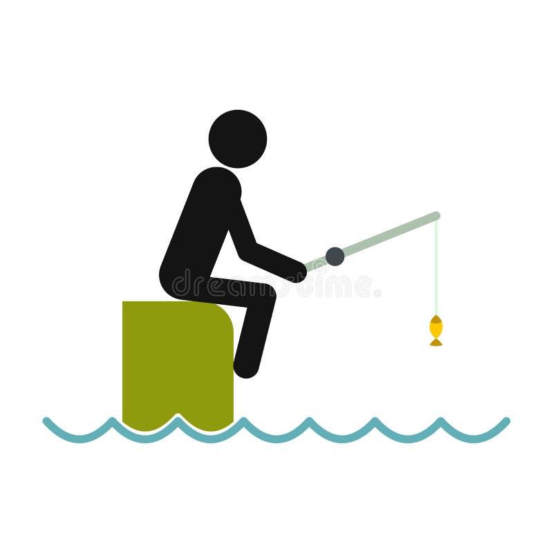 Pêcheur s'asseyant sur le pilier avec l'icône de tige illustration stock