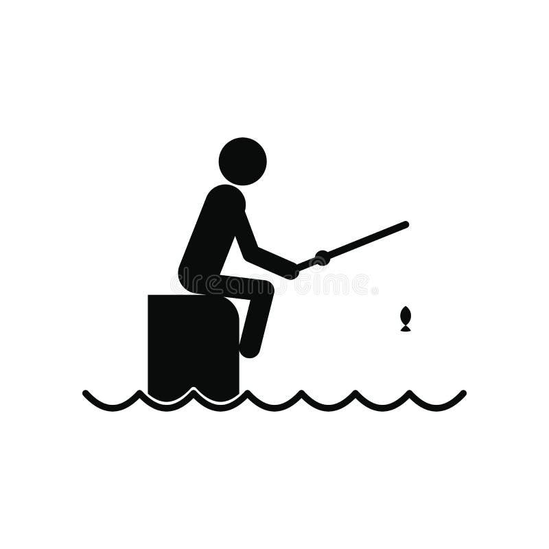 Pêcheur s'asseyant sur le pilier avec l'icône de tige illustration de vecteur