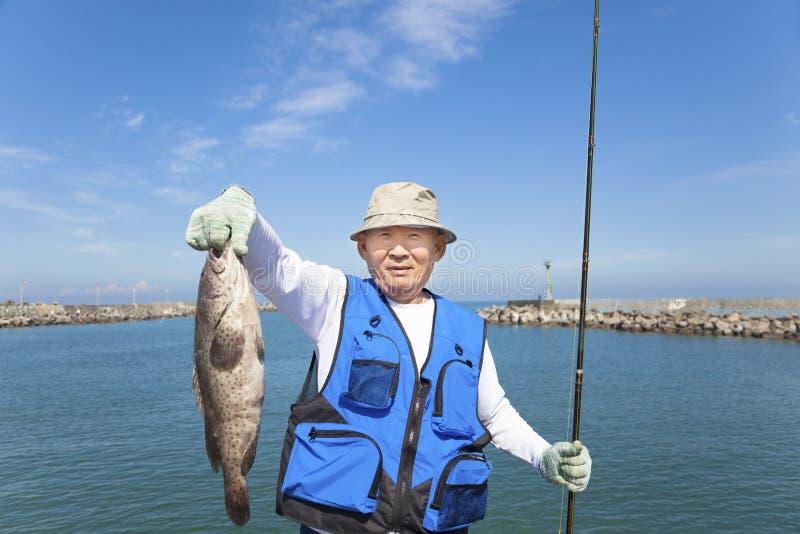Pêcheur supérieur heureux montrant le grand mérou image libre de droits