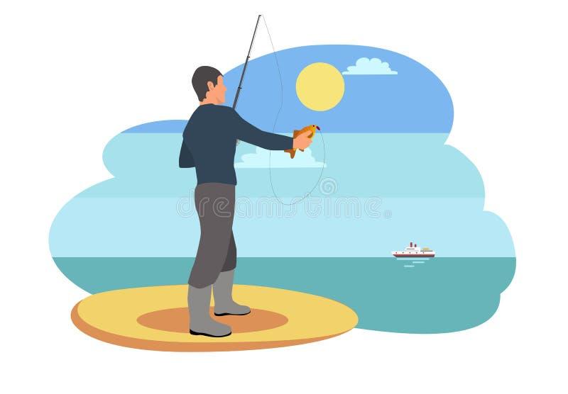 Pêcheur sur Sandy Shore, illustration de vecteur illustration libre de droits