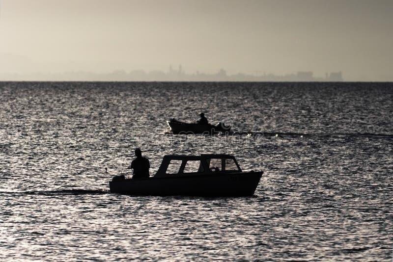 Pêcheurs à la ligne pêchant un début de la matinée de lac images libres de droits