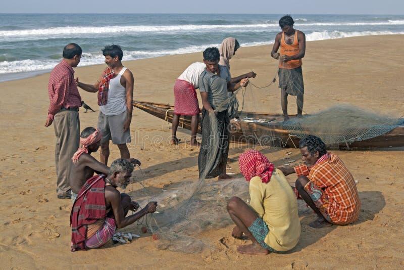 Pêcheurs au travail image libre de droits