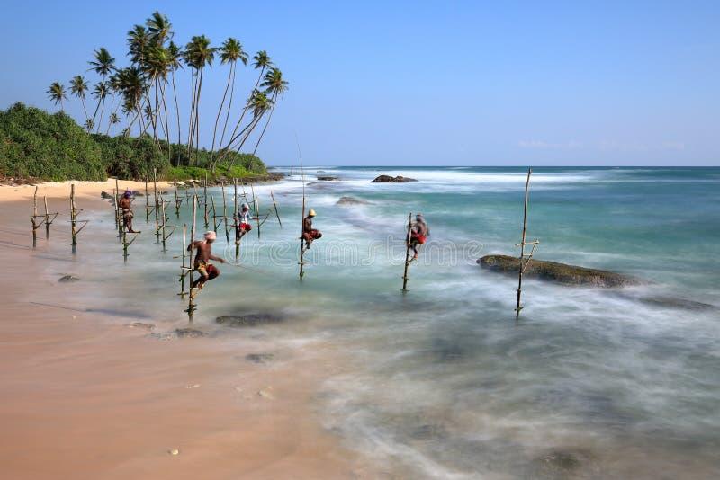 Pêcheurs d'échasse de Sri Lanka sur la plage de Koggala images libres de droits