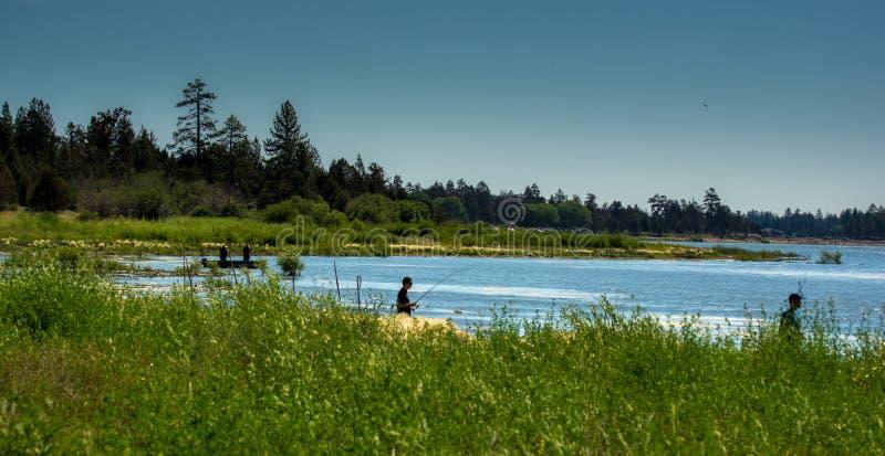 Pêcheurs de Big Bear Lake photographie stock