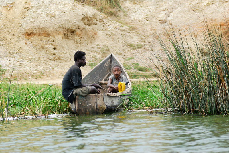 Pêcheurs, Ouganda photo stock