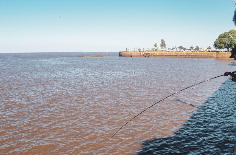 Pêcheurs près d'aéroport international de Jorge Newbery à Buenos Aires images libres de droits