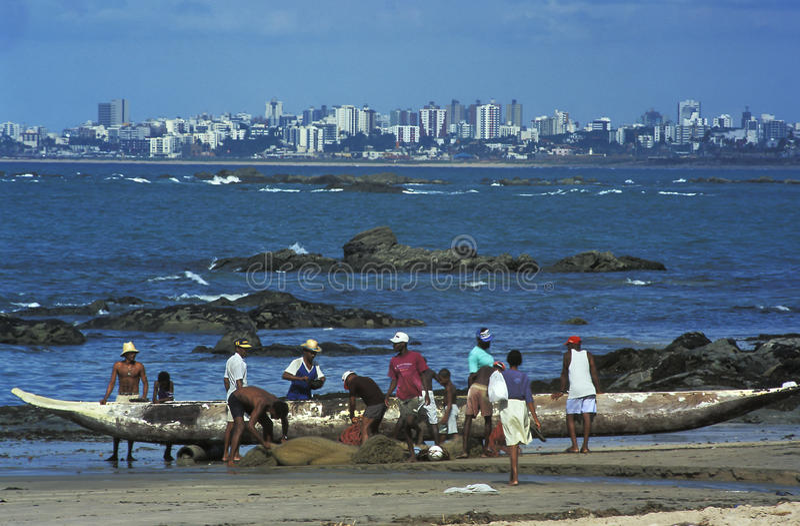 Pêcheurs, Salvador, Brésil photos libres de droits