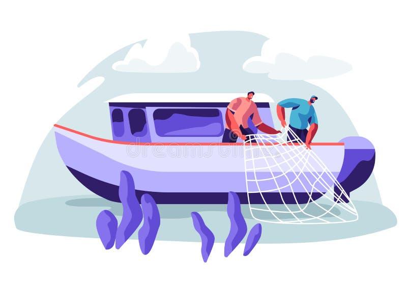 P?cheurs travaillant ? l'industrie de p?che sur les poissons de capture de grand bateau de bateau et tirant le filet de p?che de  illustration libre de droits