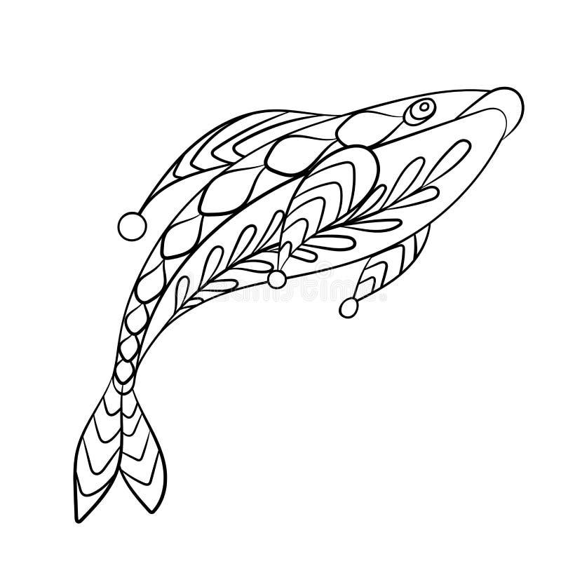 Pêchez dans la page de coloration pour childrean et les adultes dans le gra ornemental illustration stock