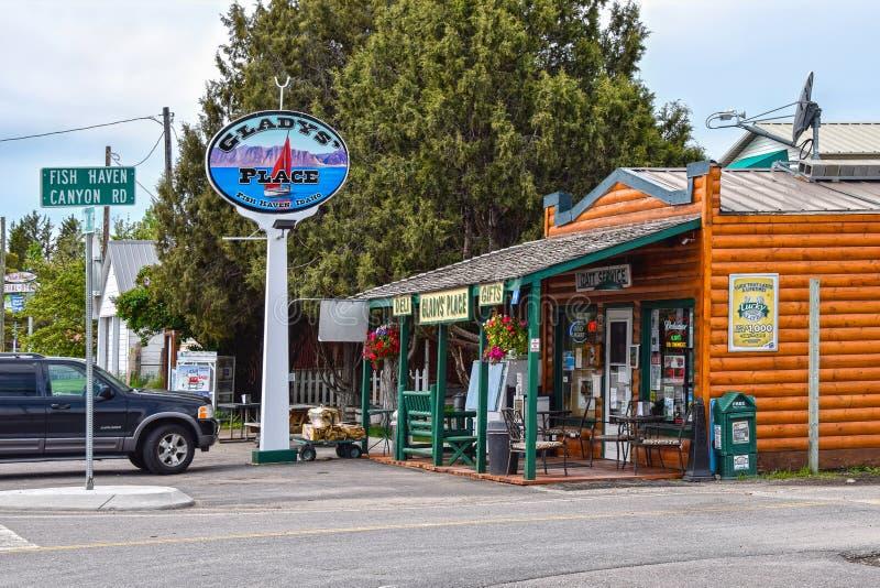 Pêchez l'asile, Idaho, Gladys Place, traînée de l'Orégon photographie stock libre de droits