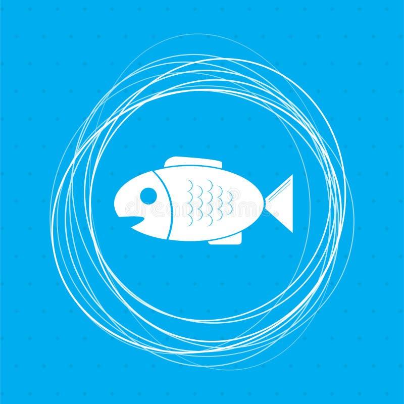 Pêchez l'icône sur un fond bleu avec les cercles abstraits autour de et la placez pour votre texte illustration libre de droits