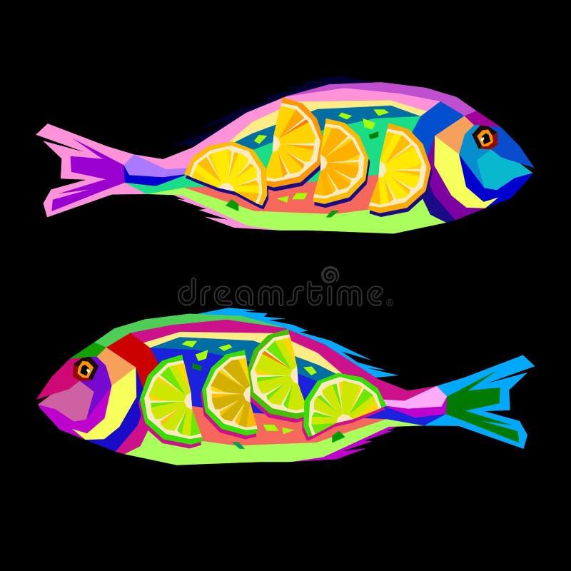 Pêchez l'illustration saumonée de vecteur de fruits de mer de plat de tomate de citron savoureuse illustration libre de droits
