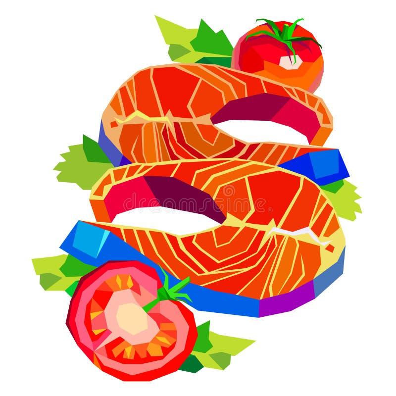 Pêchez l'illustration saumonée de vecteur de fruits de mer de plat de tomate de citron savoureuse illustration stock