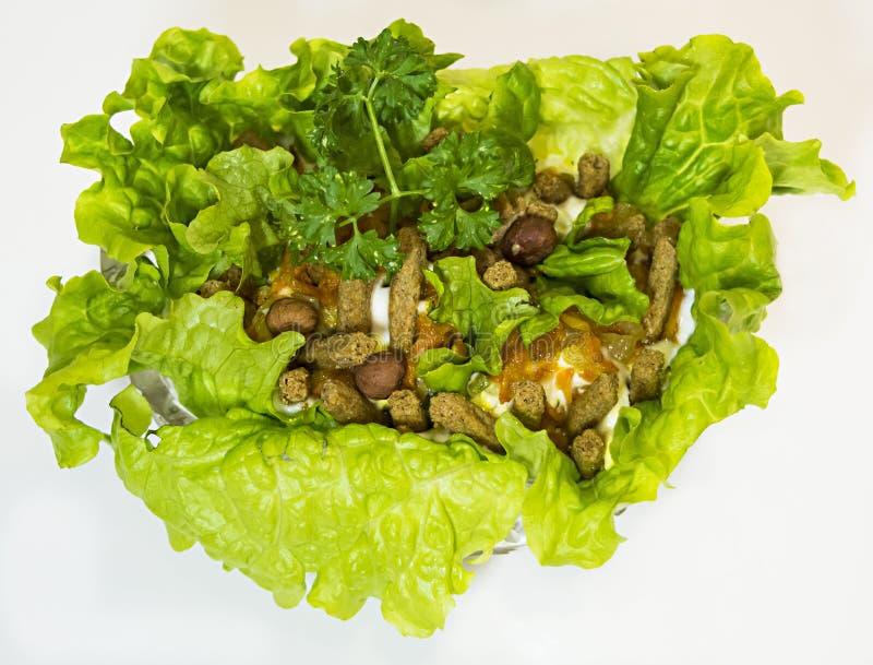 Pêchez la salade avec de la laitue, des biscottes, des écrous, l'oignon frit et la carotte photographie stock