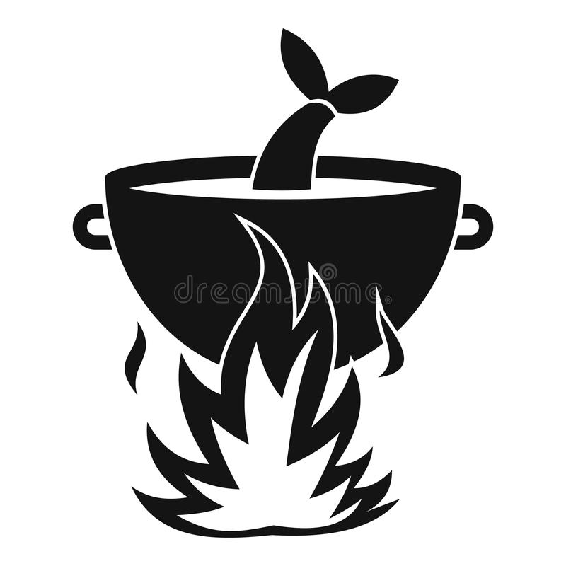 Pêchez la soupe sur une icône du feu, style simple illustration libre de droits