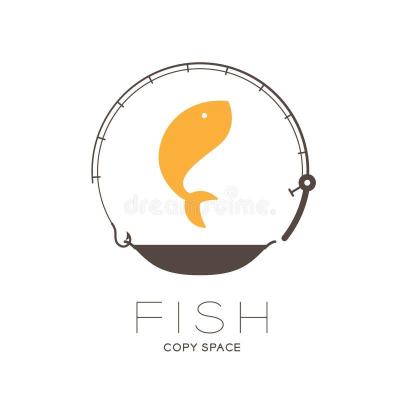 Pêchez sauter dans la forme de cercle de cadre de canne à pêche et de casserole, illustration de scénographie d'icône de logo illustration libre de droits