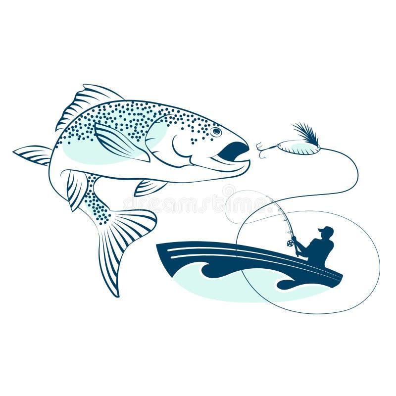 Pêchez sauter et un pêcheur dans un bateau illustration libre de droits