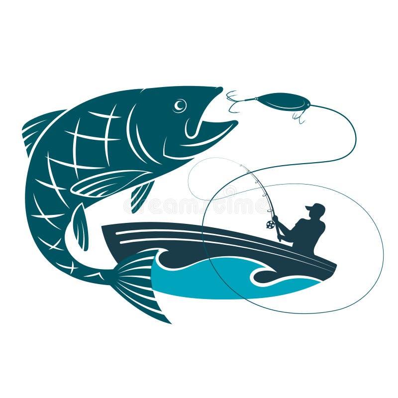 Pêchez sauter pour l'amorce et un pêcheur dans un bateau illustration libre de droits