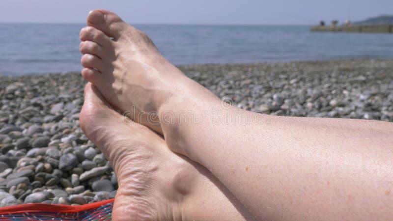 Pêlos púbicos não barbeados nas coxas das mulheres, beleza natural menina com pés não barbeados e uma área do biquini em um roupa imagem de stock
