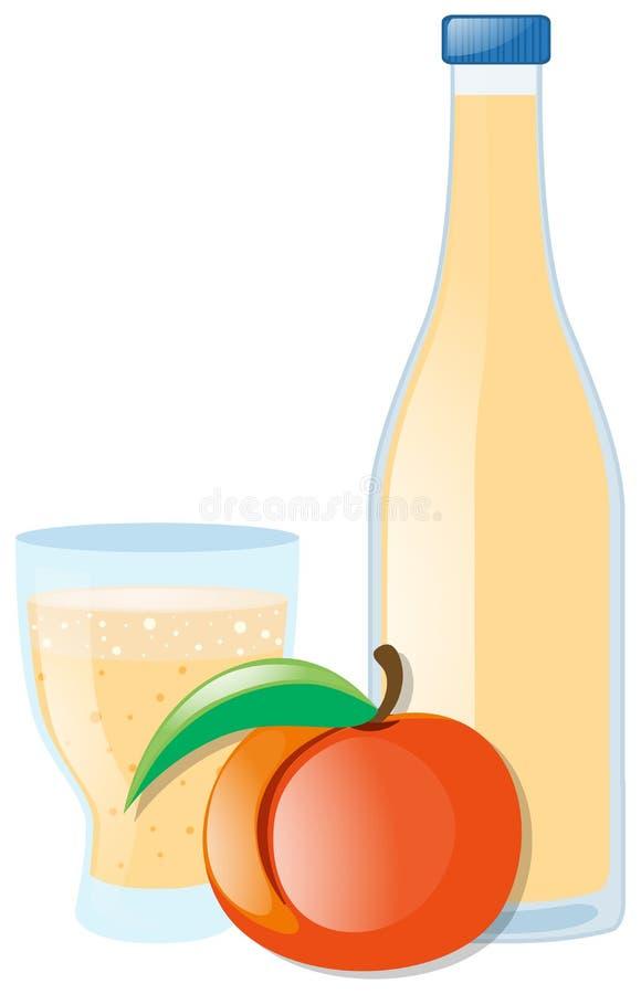 Pêssego e suco frescos na garrafa ilustração royalty free