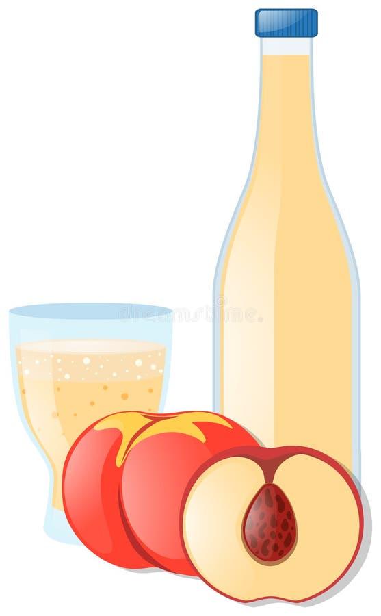 Pêssego e suco no vidro ilustração do vetor