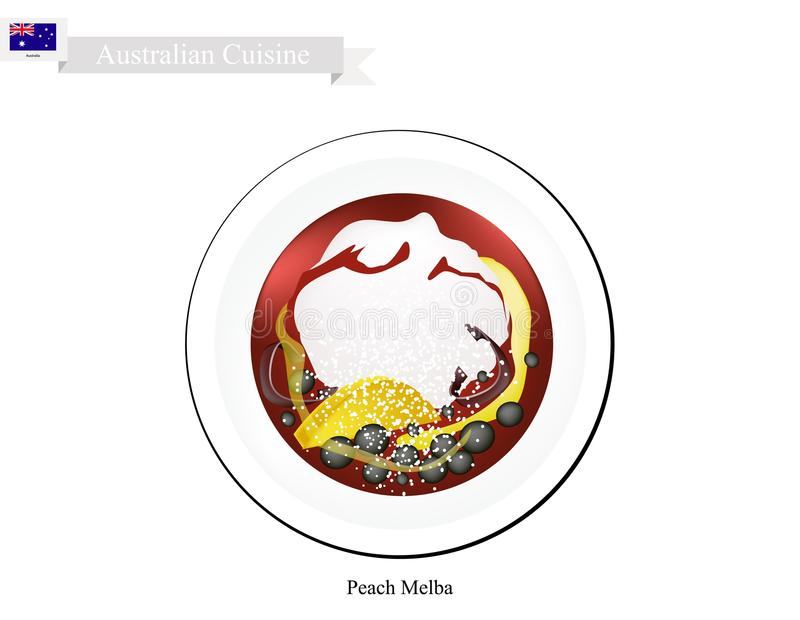 Pêssego Melba Ice Cream, uma sobremesa australiana famosa ilustração stock