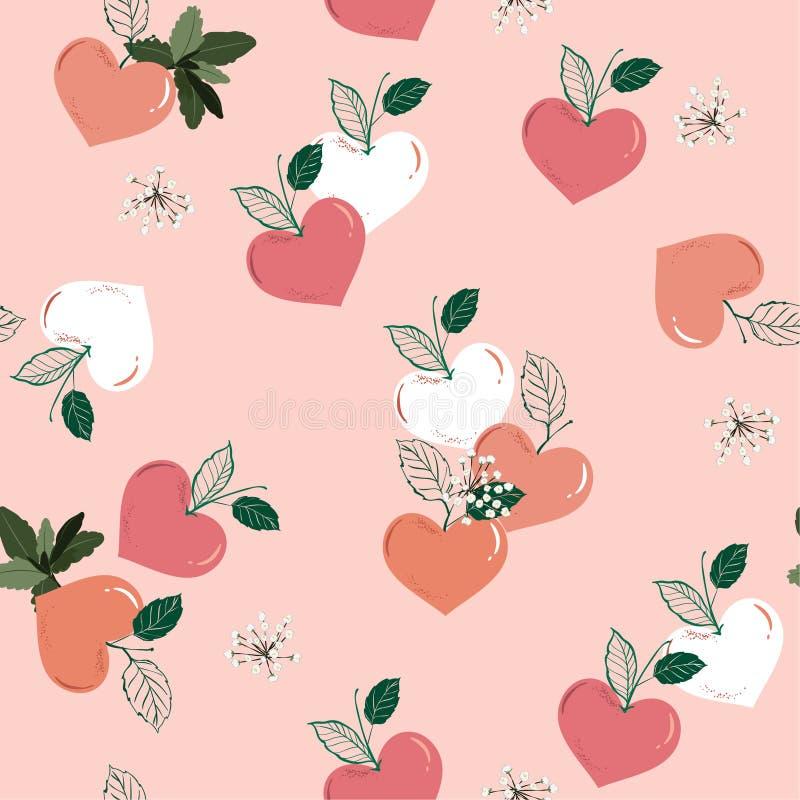 Pêssego na forma do coração, sazonal frutado do vetor sem emenda do teste padrão do amor no projeto do humor do Valentim da doçur ilustração stock
