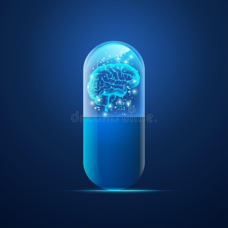Píldora del cerebro de Digitaces ilustración del vector