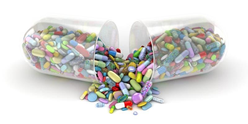 Píldora grande que vacia una pila de píldoras coloridas libre illustration