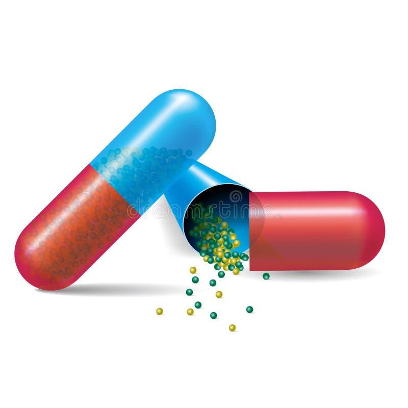 Píldora médica abierta de la cápsula del vector ilustración del vector