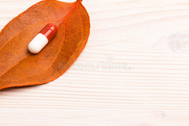 Píldora médica blanca de Brown en la sola hoja anaranjada fotografía de archivo