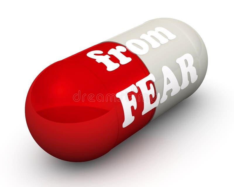 Píldora roja del miedo stock de ilustración