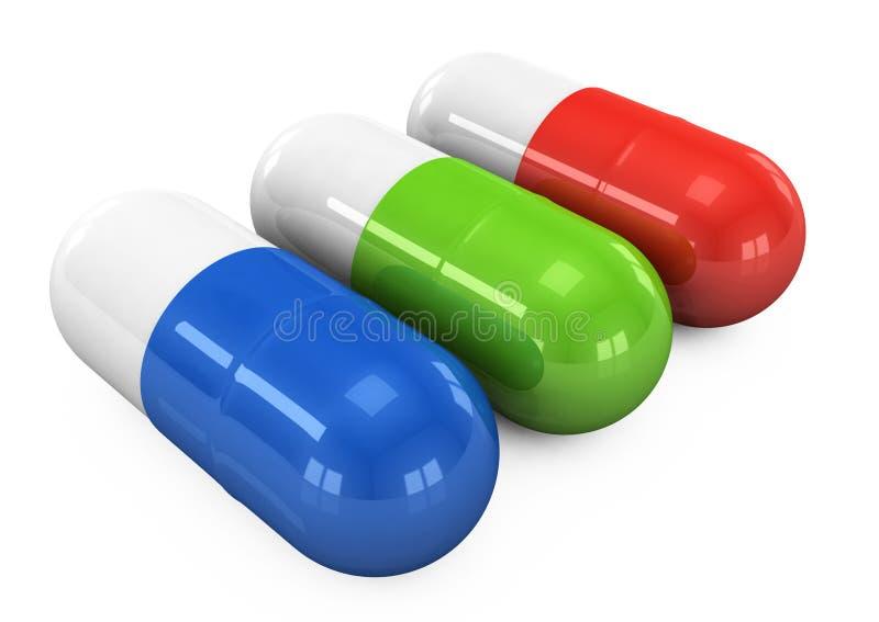 píldoras 3d en un fondo blanco libre illustration