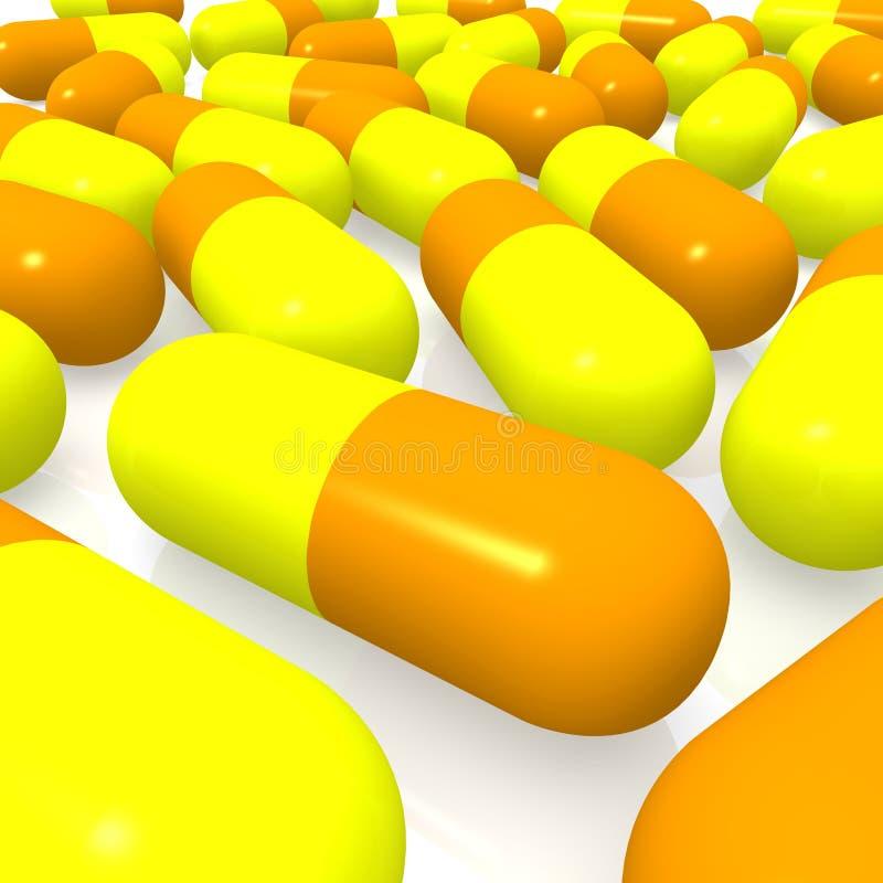 Píldoras Amarillas Y Anaranjadas Foto de archivo